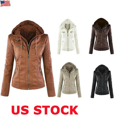 Ladies Womens PU Leather Jacket Hooded Motor Coat Winter Outwear Parka Overcoat