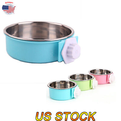 Cute Pet Dog Hanging Cage Bowl Removable Stainless Steel Water Food Feeder Bowl