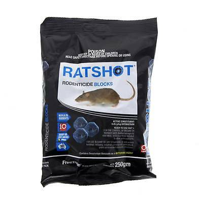 Rat Shot Bait Blue Ratshot Block Damp or Dry Use Kill Difenacoum Freezone 250g