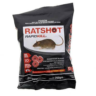 iO Rat Shot Bait Ratshot Rapid Kill Red Block Damp or Dry Use Brodifacoum 250g