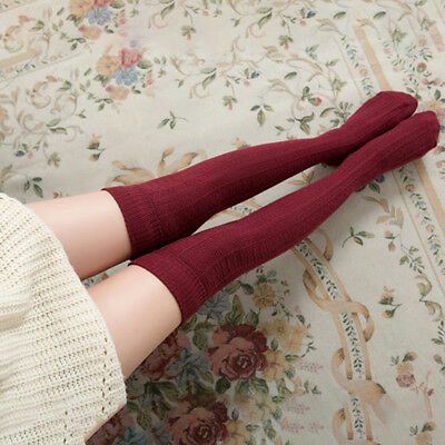 ea24e3dda Women Cable Knit Extra Long Boot Socks Over Knee Thigh High School Girl  Stock Z
