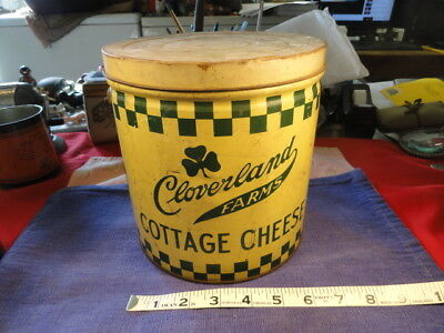 Vintage Cloverland Dairy Cottage Cheese 10 Gallon Tin Litho w/Bail Baltimore Md.