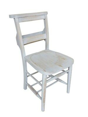 Antique Distressed Painted Church Chairs With Bible Backs - Kitchen/Dining Room