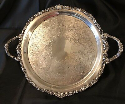 """Vintage Estate Silverplate Double Handled 14"""" Butler's Tray"""