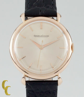 Jaegar LeCoultre 18k Rose Gold Hand-Winding Watch w/ Leather Band Case #3225