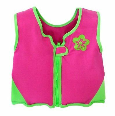 Girls Pink/green Swim Vest Learn-to-swim Jacket Size Large Kids Age 6-7.5 Years