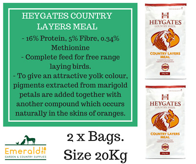 2 X Heygates Country Layers Meal Chickens Poultry Feed 20Kg *free P&p*