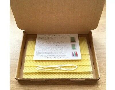 Beeswax Candle Making Kit, 5 Natural Beeswax sheets, Instruction, Wick, Wax