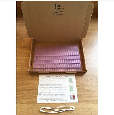 Beeswax Candle Making Kit, 5 Beeswax sheets, Instruction Wick, Lilac Purple Wax