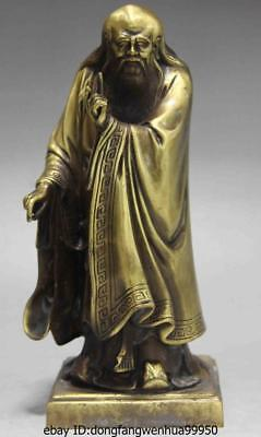 Chinese Bronze Copper Stand Great Philosopher Founder Taoism Leader Laozi Statue