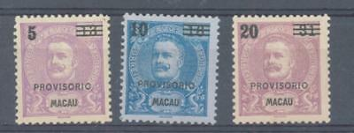 Macao 1900 Provisionals sg.132-3, 135 MH ungummed as issued