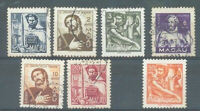 Macao 1951 Portraits sg.439-44 used and 446 MH ungummed