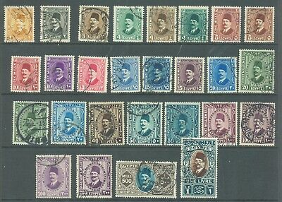 Egypt 1927-37 set to £E1 with shades sg.148-71 used 27 values