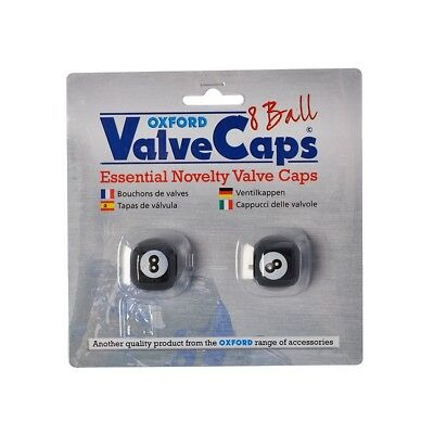 Oxford Bicycle Cycle Bike Essential Novelty 8 Ball Valve Caps Black - Pair OX767