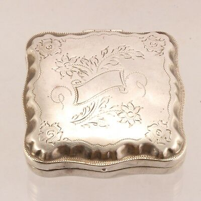 Antique Victorian Solid Sterling Silver Squared Hinge Top Pill Case 65% Off NR
