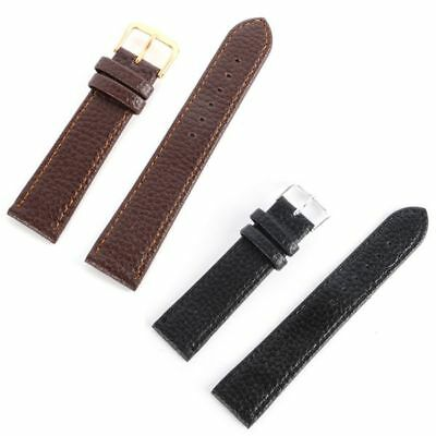 Mens Womens Genuine Leather Stainless Steel Tang Buckle Watch Strap Wrist Bands