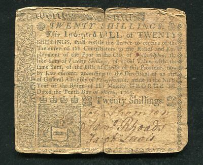 PA-145 MARCH 10, 1769 20s TWENTY SHILLINGS PENNSYLVANIA COLONIAL CURRENCY NOTE