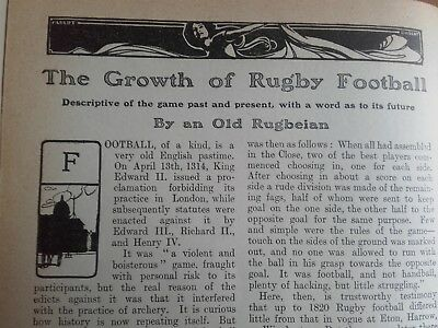 History Growth of Rugby Football Union Rare Old Article 1906 Webb Ellis Bloxam