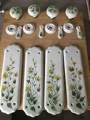 Vintage Ceramic  Finger Plates Door Knobs Escutcheons Unused 2 Sets