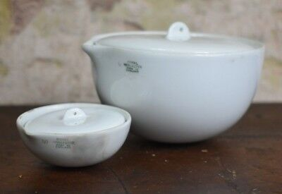 Antique 1920s Royal Worcester Chemist Laboratory Dish Two Apothecary Bowl (E)
