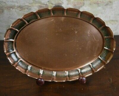 Joseph Sankey Antique 1900's Copper Oval Tray Arts & Crafts English Newlyn Style