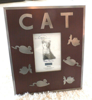 """FUZZY BUDDIES""  Cat Photo Frame (by The Weston Gallery in Rosewood+Pewter) WOW"
