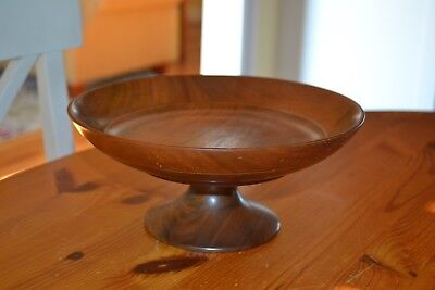 Vintage Solid American Walnut Footed Compote Console Bowl - Hand-turned 9 inche