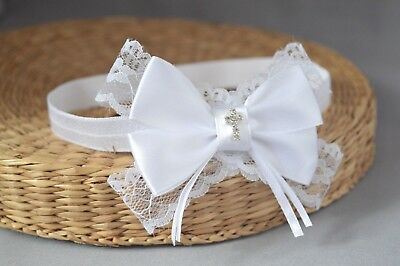 Handmade White baby bow hair band for baptism christening lace bow with a cross