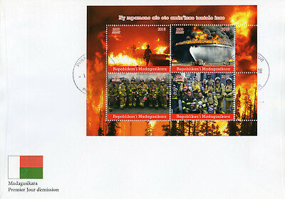 Madagascar 2018 FDC Fire Engines Fighters Brigade 4v M/S Cover Trucks Stamps