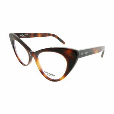 Saint Laurent New Wave SL 217 002 Havana Plastic Cat-Eye Eyeglasses 53mm