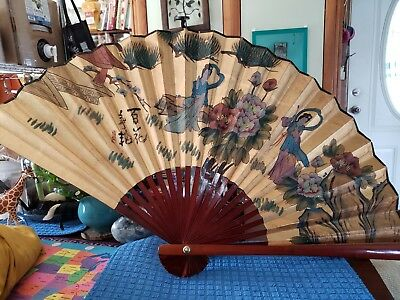 Large Chinese Handpainted Fan Red Lacquered Handle Gold With 2 Beautiful Maidens