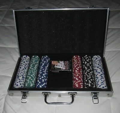 Poker Game Chip Set w/ Aluminum Case Casino Cards Cardinal Industries