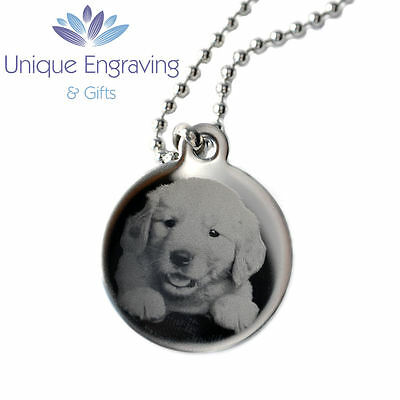 Personalised Pet Memorial Photo Engraved Round Necklace Pendant - Christmas Gift