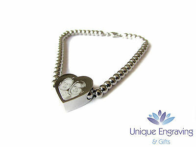 Personalised Photo / Text Engraved Heart Charm Bracelet - Ideal Christmas Gift!