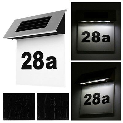 Solar Powered 4 LED Illuminated Doorplate House Number Light Wall Plaque Decor