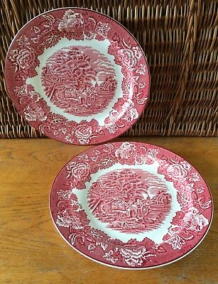 """Two, Vintage, Woods Ware Dinner Plates, English Scenery. Red, 10"""", VGC."""