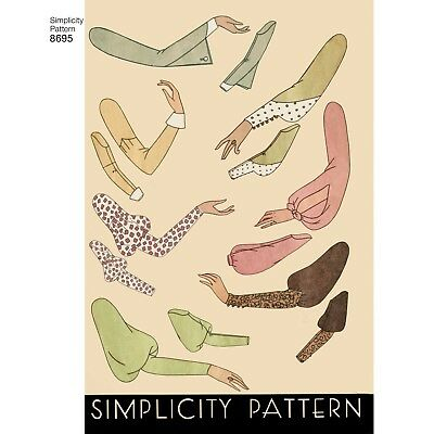 S8695 Style 1930's Simplicity SEWING PATTERN Set of Vintage Sleeves Sizes 10-22