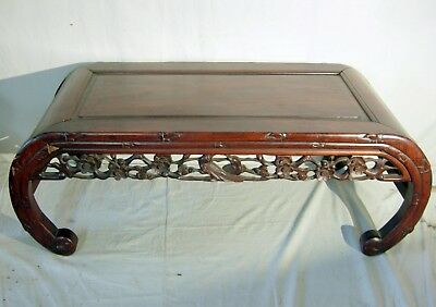 Antique Chinese Low Table Rosewood And Carvings