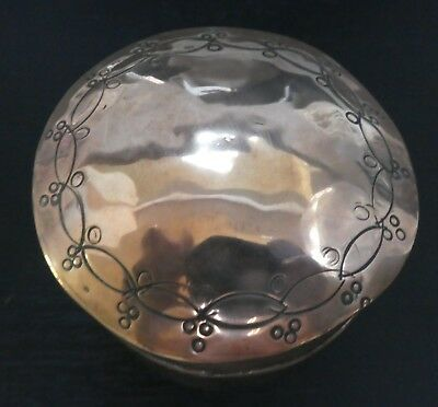 Arts & Crafts Movement Copper Lidded Pot. Handmade Pattern To Lid