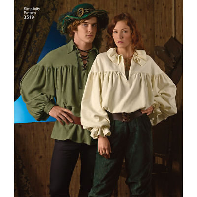 S3519 Simplicity 3519 Sewing Pattern Costume Renaissance Medieval Shirts XS-XLG