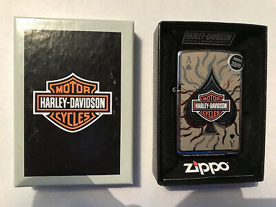 Harley Davidson Ace Of Spades Zippo New In Box Amazing Lighter!!!! Look Look