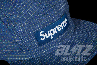 63faf473 Supreme Reflective Ripstop Camp Cap Light Navy Fw18 2018 White Red Box Logo  Hat
