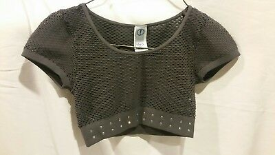 Idea Dance Top, Girls one size, Gray mesh with rhinestones