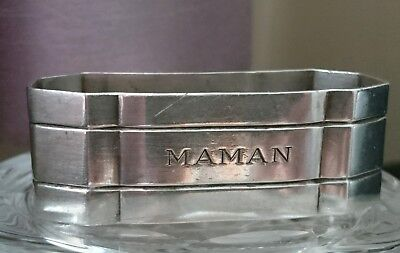 Antique French Art Deco Sterling Silver Napkin~Serviette Ring Maman~Mother Heavy