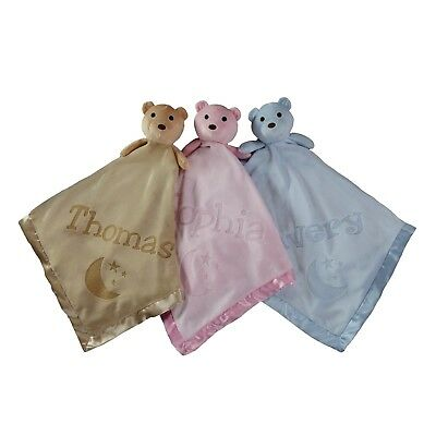 40x40 Moon Teddy Bear Fleece Security Blanket for Baby - Personalized with Name