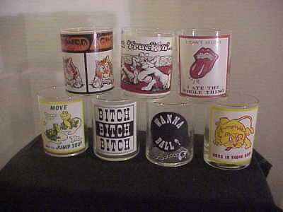 Vintage 1970s R Crumb set 7 glasses Keep on Truckin Bitch Jump You Stoned Again