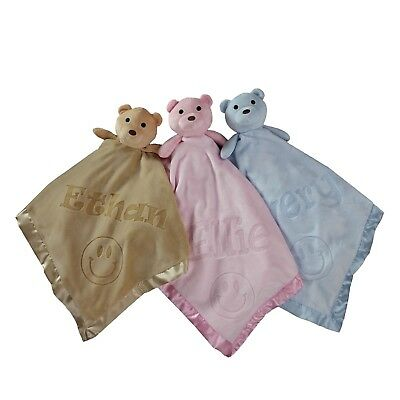 40x40 Smile Teddy Bear Fleece Security Blanket for Baby - Personalized with Name