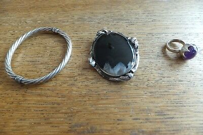 3 Piece`s  Of Silver A Bracelet A Brooch And A Ring
