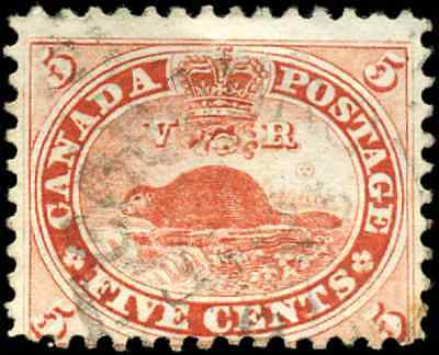 Canada #15 used VG 1859 First Cents 5c vermilion Beaver CV$10.00