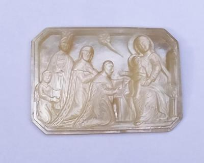 ANTIQUE MOTHER of PEARL CARVED RELIEF of THE ADORATION of the MAGI - HOLY LAND